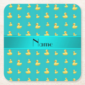 Personalized name turquoise rubber duck pattern square paper coaster