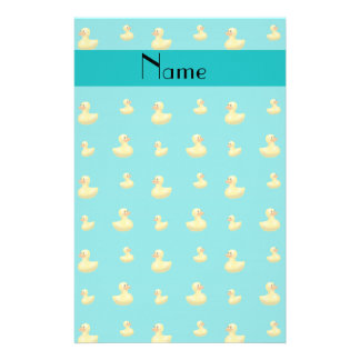 Personalized name turquoise rubber duck pattern stationery