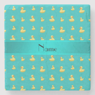 Personalized name turquoise rubber duck pattern stone beverage coaster