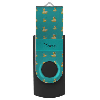 Personalized name turquoise rubber duck pattern swivel USB 2.0 flash drive