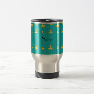 Personalized name turquoise rubber duck pattern travel mug