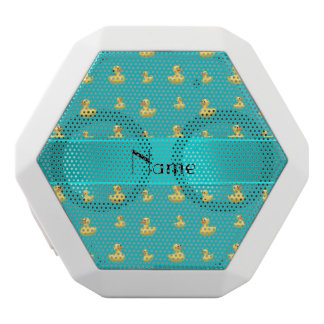 Personalized name turquoise rubber duck pattern white boombot rex bluetooth speaker