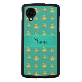 Personalized name turquoise rubber duck pattern carved® maple nexus 5 slim case