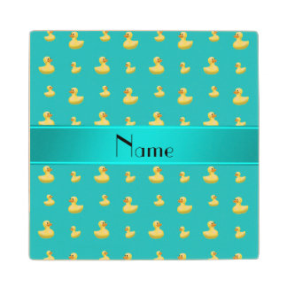Personalized name turquoise rubber duck pattern wood coaster