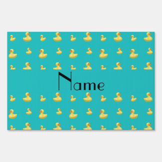 Personalized name turquoise rubber duck pattern yard signs