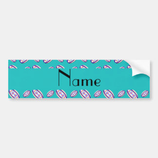Personalized name turquoise rugby balls car bumper sticker