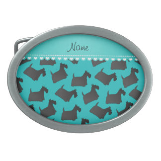 Personalized name turquoise scottish terrier dogs belt buckle