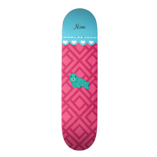Personalized name turquoise seal pink triangles skate deck