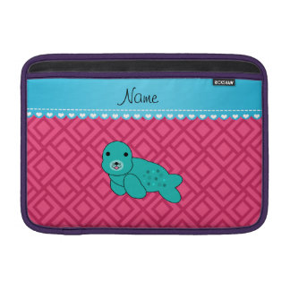Personalized name turquoise seal pink triangles sleeve for MacBook air