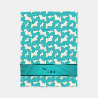 Personalized name turquoise Sealyham Terrier dogs Fleece Blanket