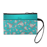 Personalized name turquoise shark pattern change purses