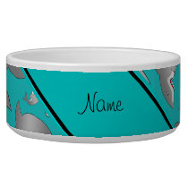 Personalized name turquoise shark pattern bowl