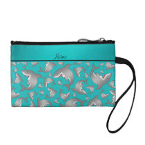 Personalized name turquoise shark pattern change purse