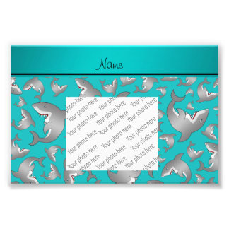 Personalized name turquoise shark pattern photographic print