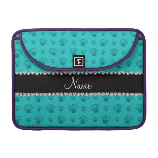 Personalized name turquoise shells sleeves for MacBook pro