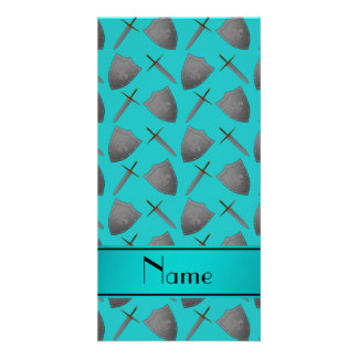 Personalized name turquoise shields and swords photo card template