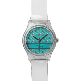 Personalized name turquoise siberian husky dogs wristwatches