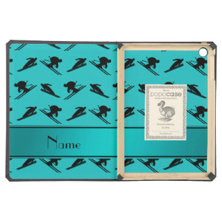 Personalized name turquoise ski pattern iPad air case