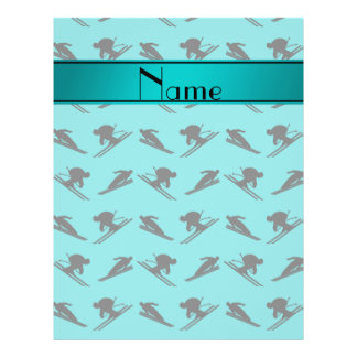 "Personalized name turquoise ski pattern 8.5"" x 11"" flyer"