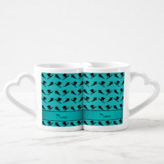 Personalized name turquoise ski pattern couples' coffee mug set