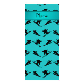 Personalized name turquoise ski pattern rack card