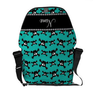Personalized name turquoise skulls pattern courier bags