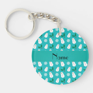 Personalized name turquoise snowman christmas keychains