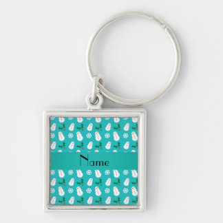 Personalized name turquoise snowman christmas key chains