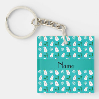 Personalized name turquoise snowman christmas acrylic keychains