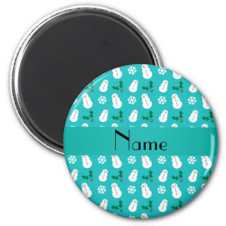 Personalized name turquoise snowman christmas refrigerator magnets
