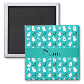 Personalized name turquoise snowman christmas magnets