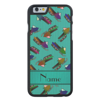 Personalized name turquoise snowmobiles carved® maple iPhone 6 slim case