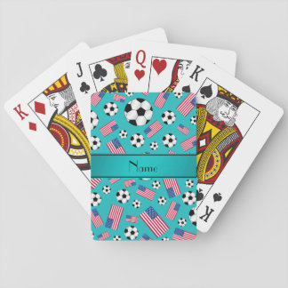 Personalized name turquoise soccer american flag card deck