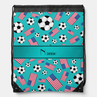 Personalized name turquoise soccer american flag drawstring bag