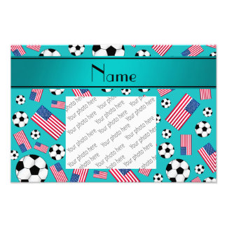 Personalized name turquoise soccer american flag photo print