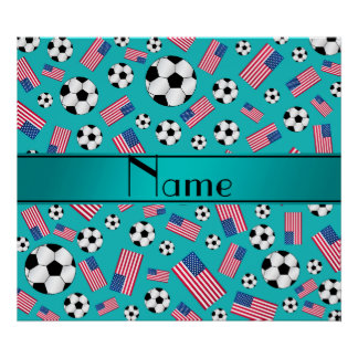 Personalized name turquoise soccer american flag poster
