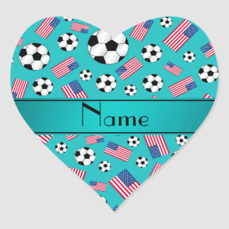 Personalized name turquoise soccer american flag heart sticker
