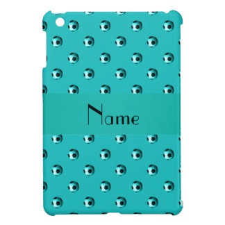 Personalized name turquoise soccer balls iPad mini covers