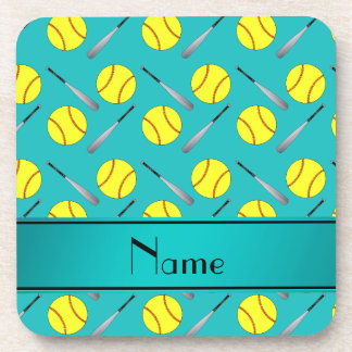 Personalized name turquoise softball pattern drink coasters