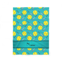 Personalized name turquoise softball pattern fleece blanket