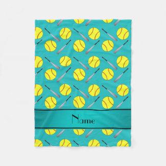 Personalized name turquoise softball pattern fleece blanket