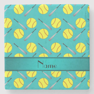 Personalized name turquoise softball pattern stone beverage coaster