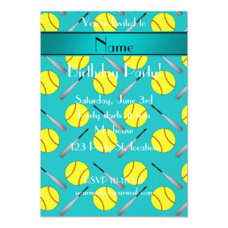 Personalized name turquoise softball pattern 5x7 paper invitation card
