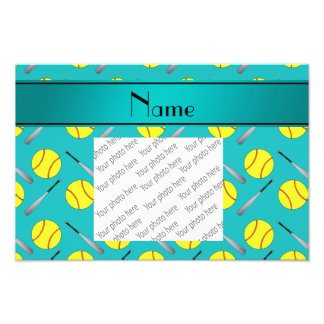 Personalized name turquoise softball pattern photograph