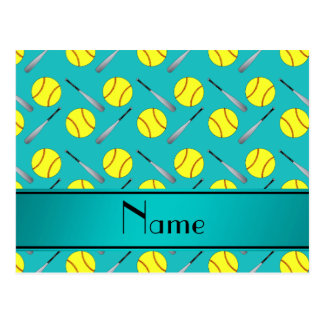 Personalized name turquoise softball pattern post card
