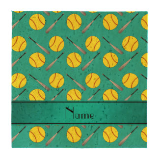 Personalized name turquoise softball pattern coasters