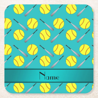 Personalized name turquoise softball pattern square paper coaster