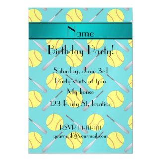 Personalized name turquoise softball pattern magnetic invitations
