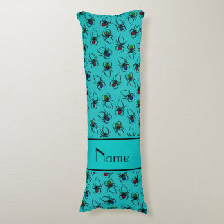 Personalized name turquoise spiders body pillow