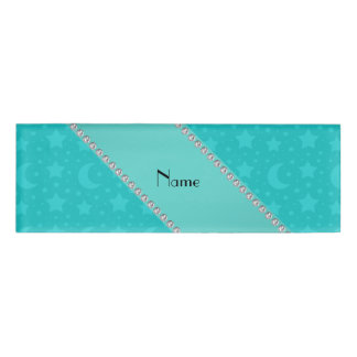 Personalized name Turquoise stars and moons Name Tag